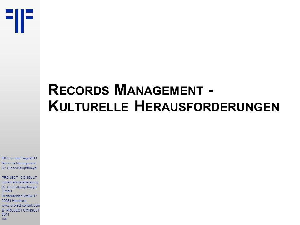 Records Management - Kulturelle Herausforderungen
