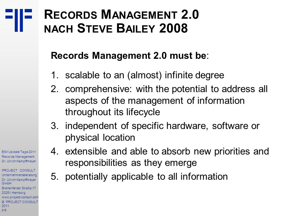 Records Management 2.0 nach Steve Bailey 2008