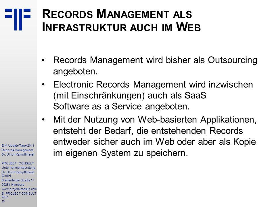 Records Management als Infrastruktur auch im Web