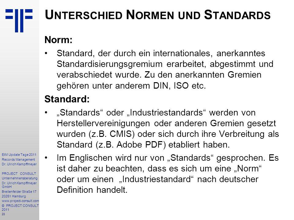 Unterschied Normen und Standards