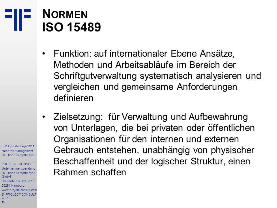 Normen ISO 15489