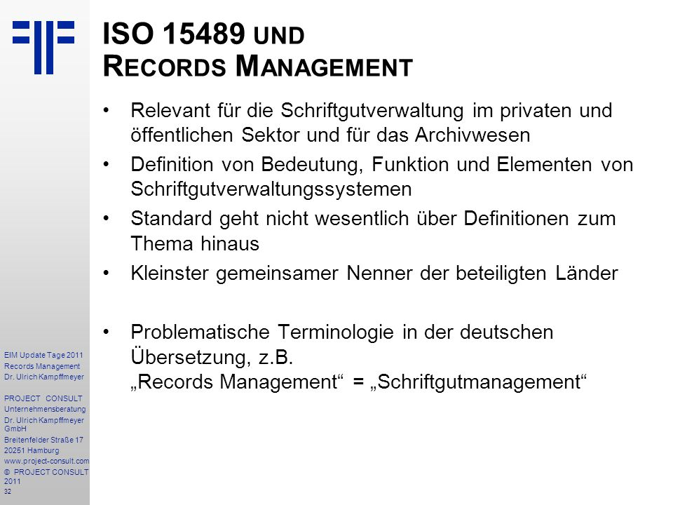 ISO 15489 und Records Management