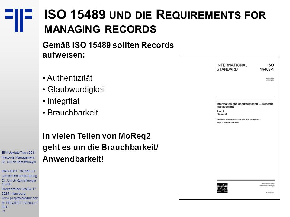 ISO und die Requirements for managing records