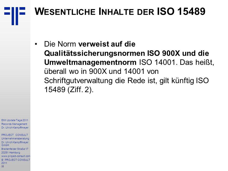 Wesentliche Inhalte der ISO 15489