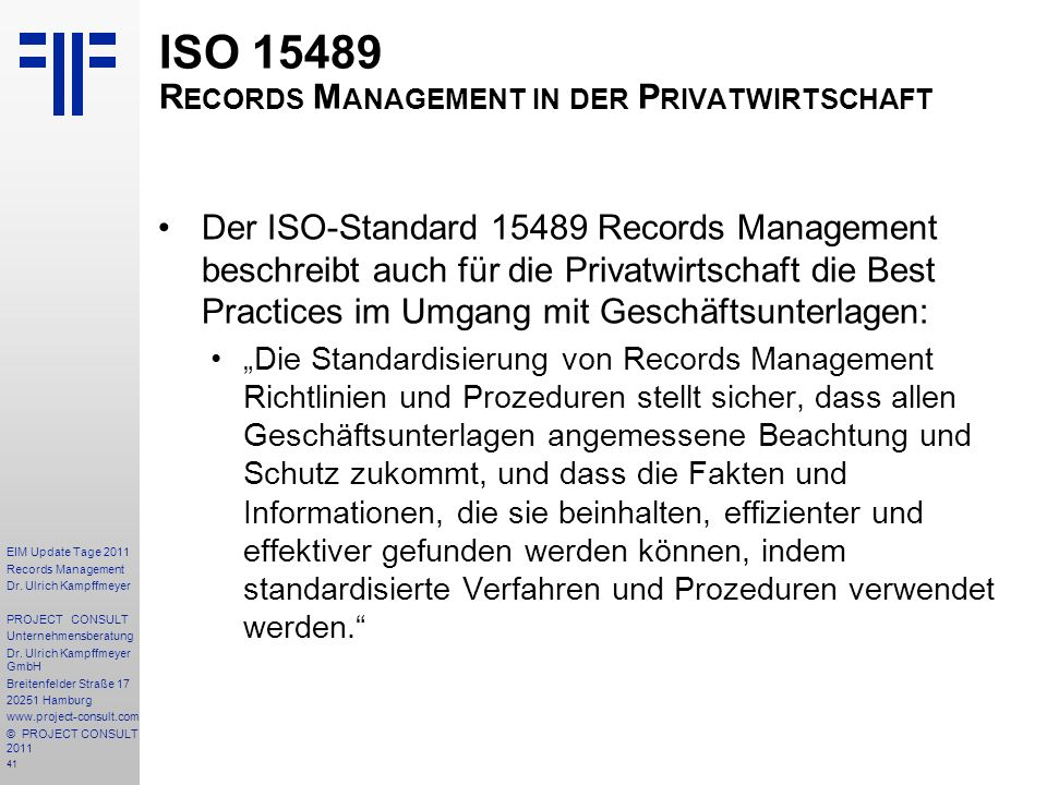 ISO 15489 Records Management in der Privatwirtschaft