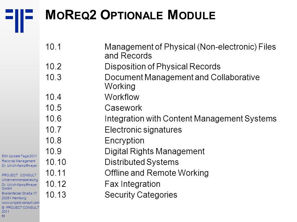 MoReq2 Optionale Module