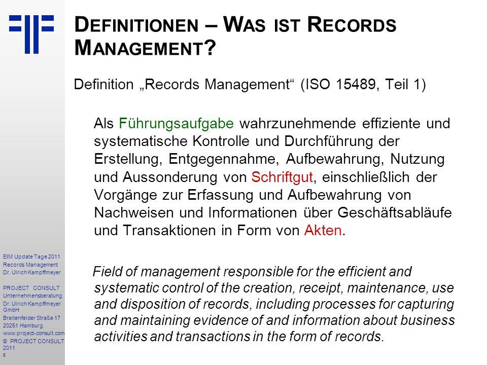 Definitionen – Was ist Records Management