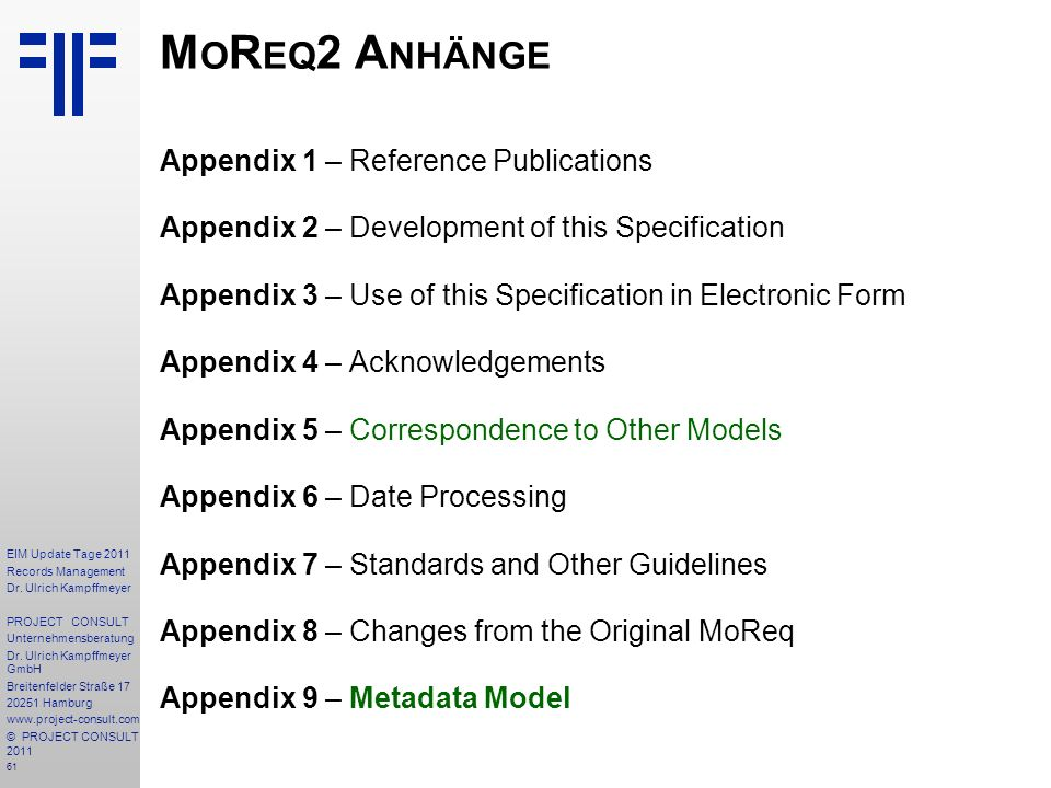 MoReq2 Anhänge Appendix 1 – Reference Publications