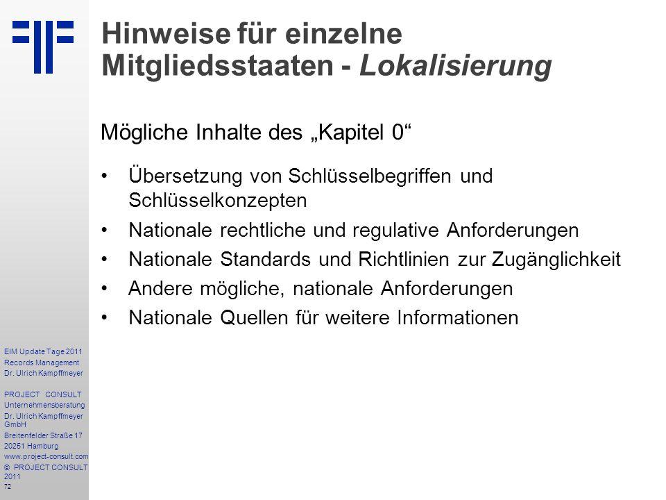 Hinweise für einzelne Mitgliedsstaaten - Lokalisierung