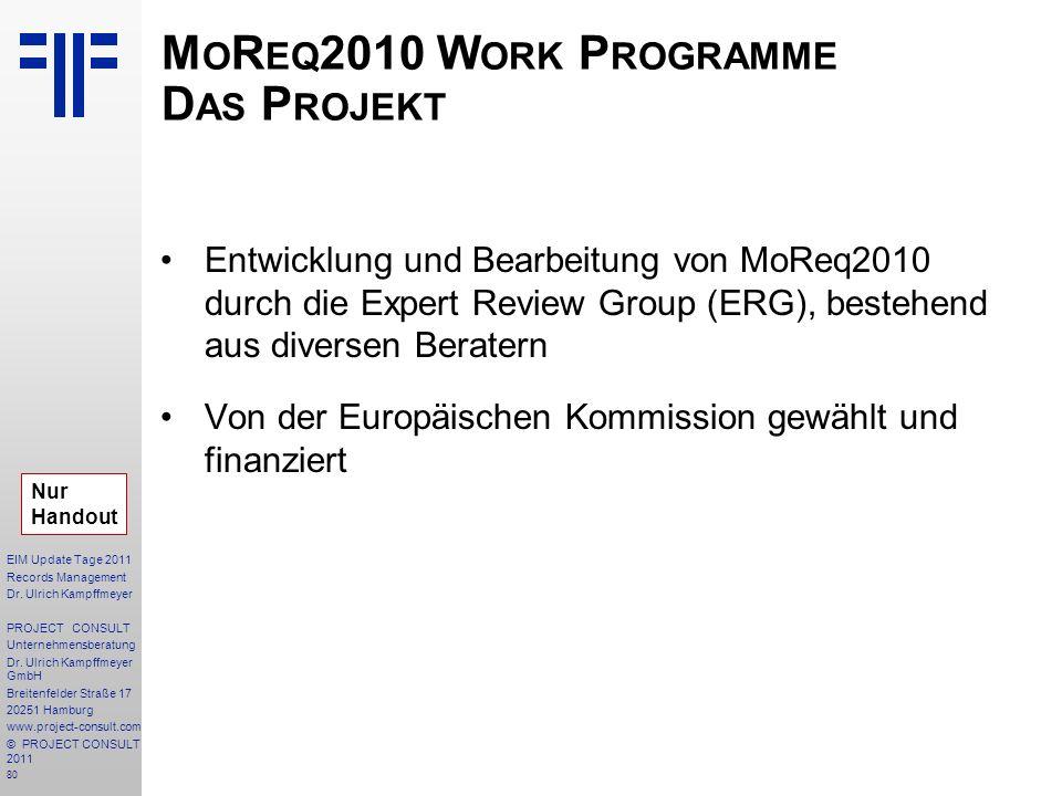 MoReq2010 Work Programme Das Projekt