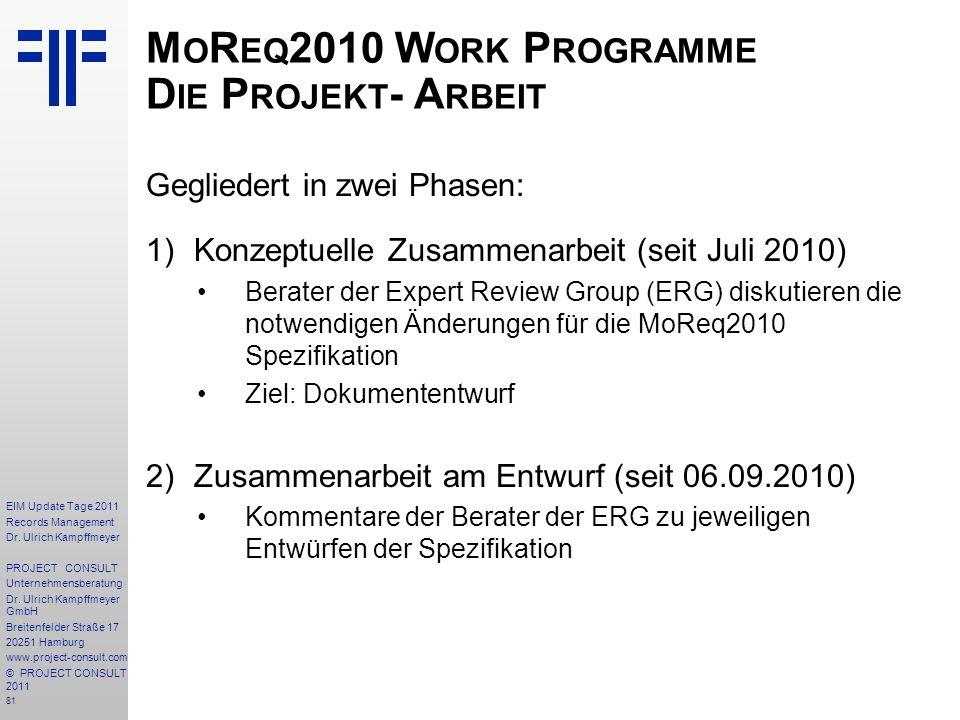 MoReq2010 Work Programme Die Projekt- Arbeit