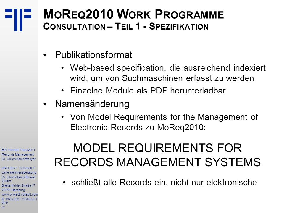 MoReq2010 Work Programme Consultation – Teil 1 - Spezifikation