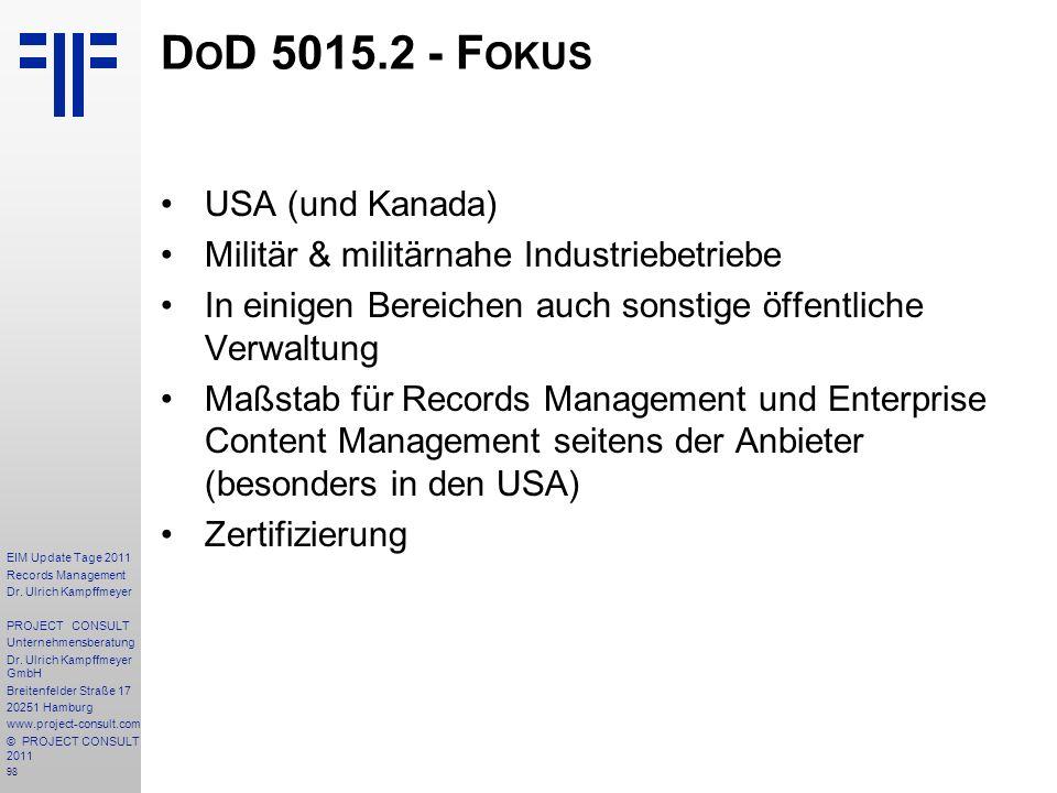 DoD 5015.2 - Fokus USA (und Kanada)