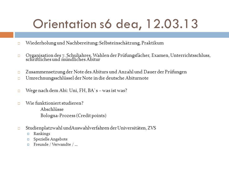 Orientation s6 dea, 12.03.13 Wiederholung und Nachbereitung: Selbsteinschätzung, Praktikum.