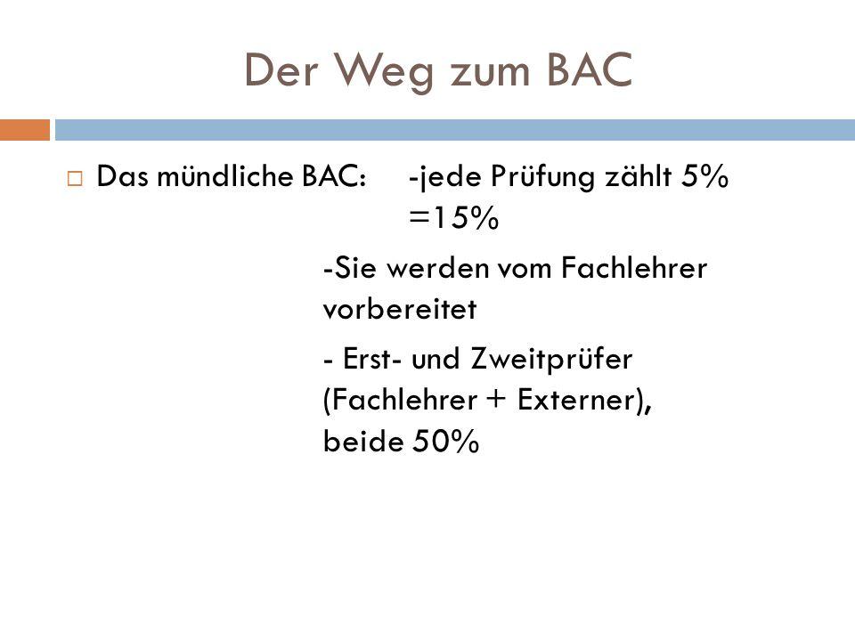 Der Weg zum BAC Das mündliche BAC: -jede Prüfung zählt 5% =15%
