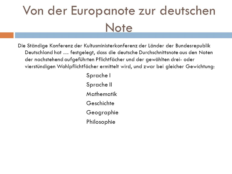 Von der Europanote zur deutschen Note