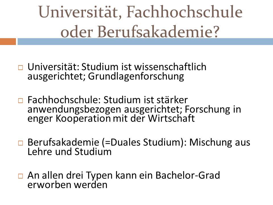 Universität, Fachhochschule oder Berufsakademie