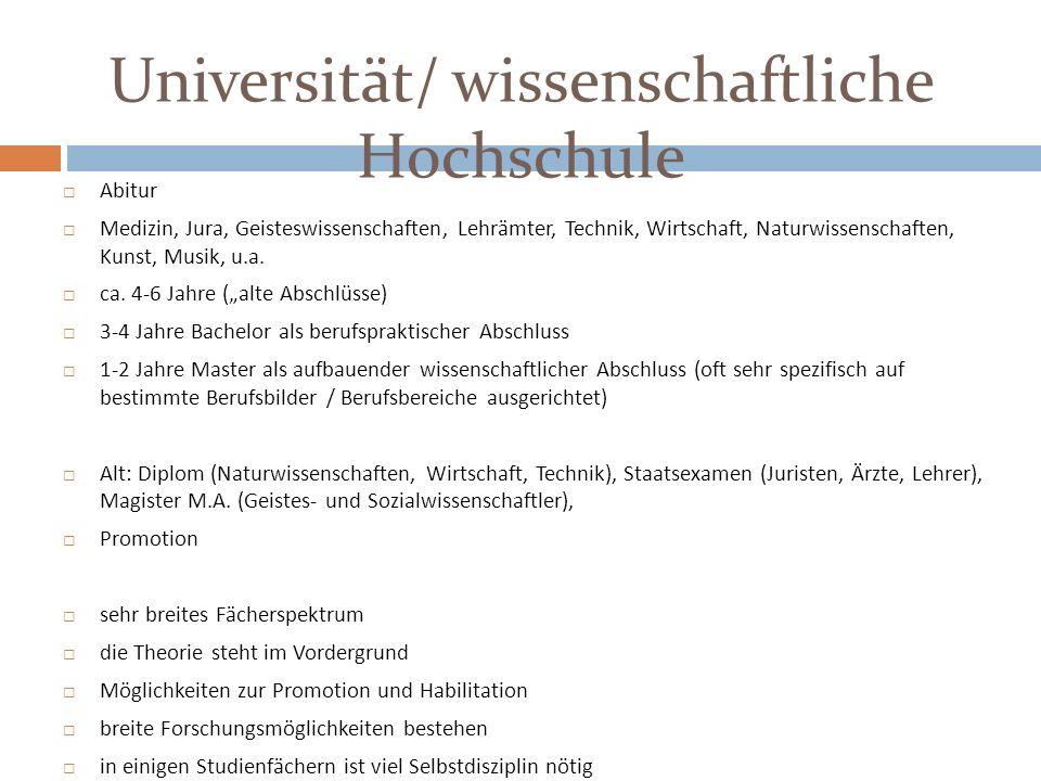 Universität/ wissenschaftliche Hochschule
