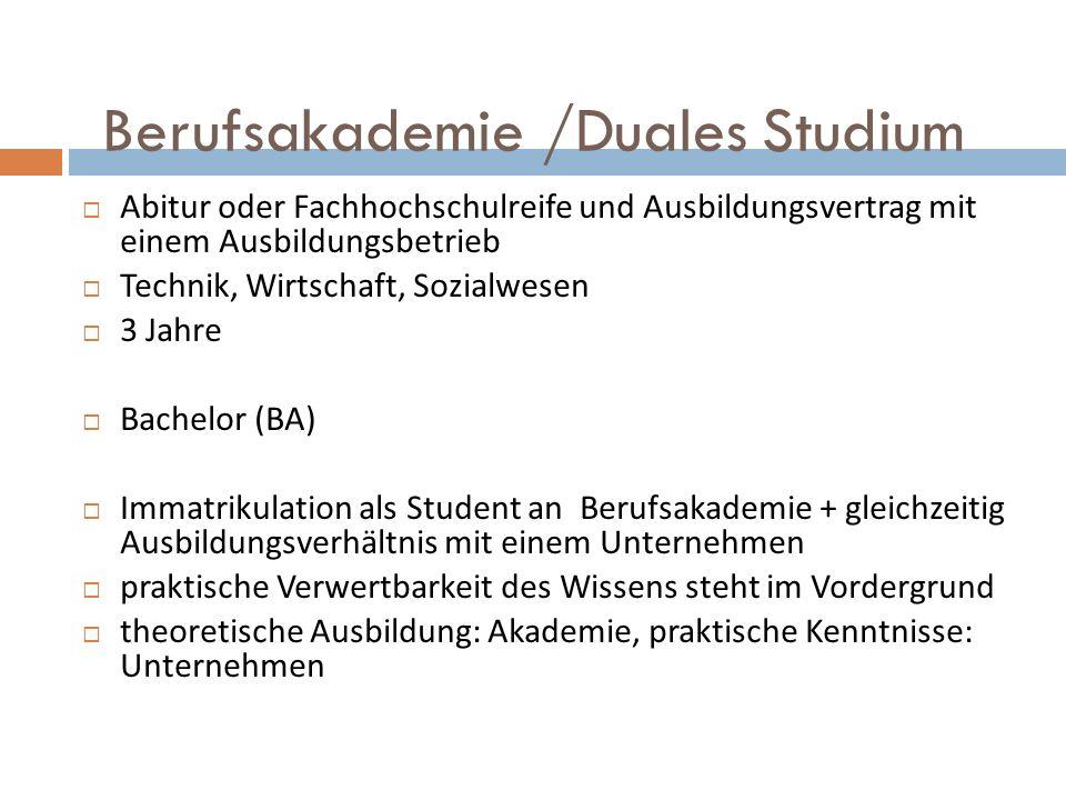 Berufsakademie /Duales Studium