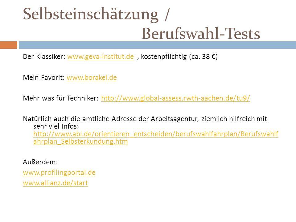 Selbsteinschätzung / Berufswahl-Tests