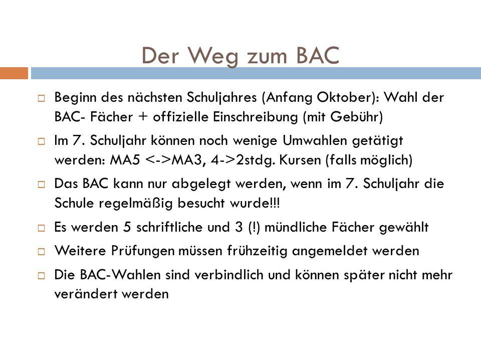 Der Weg zum BACBeginn des nächsten Schuljahres (Anfang Oktober): Wahl der BAC- Fächer + offizielle Einschreibung (mit Gebühr)