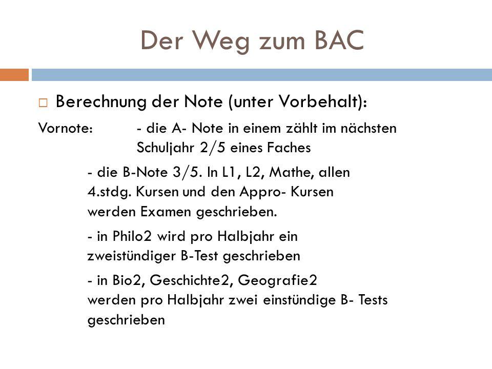 Der Weg zum BAC Berechnung der Note (unter Vorbehalt):