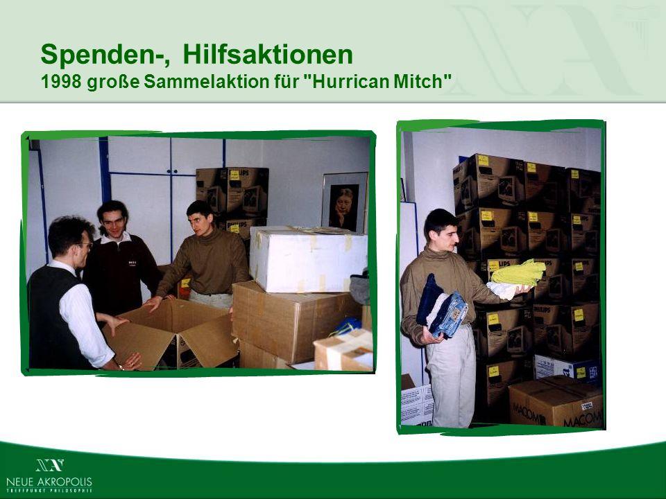 Spenden-, Hilfsaktionen 1998 große Sammelaktion für Hurrican Mitch