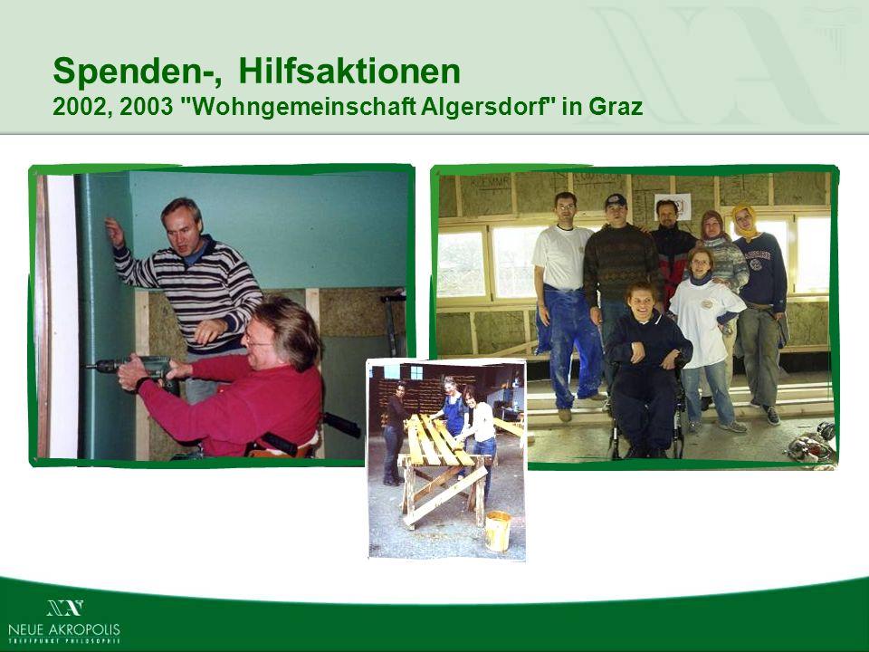 Spenden-, Hilfsaktionen 2002, 2003 Wohngemeinschaft Algersdorf in Graz