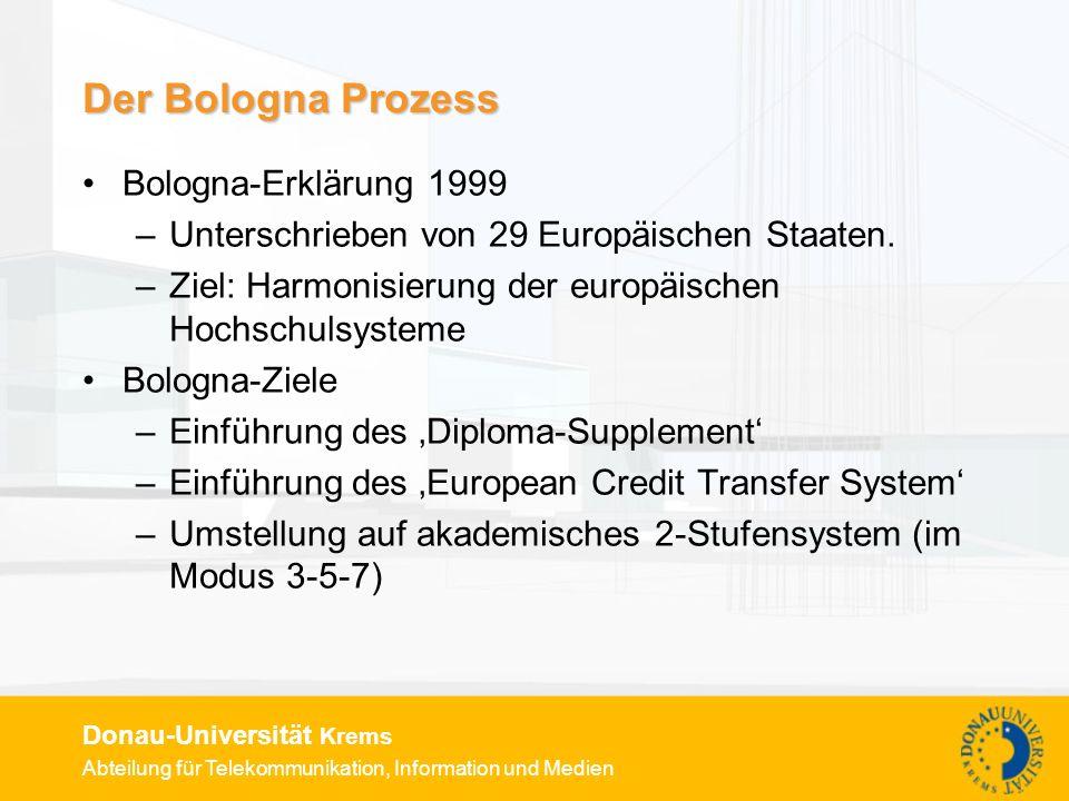 Der Bologna Prozess Bologna-Erklärung 1999