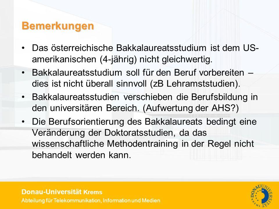 Bemerkungen Das österreichische Bakkalaureatsstudium ist dem US-amerikanischen (4-jährig) nicht gleichwertig.