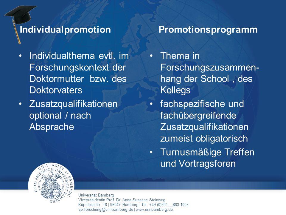 Individualpromotion Promotionsprogramm. Individualthema evtl. im Forschungskontext der Doktormutter bzw. des Doktorvaters.