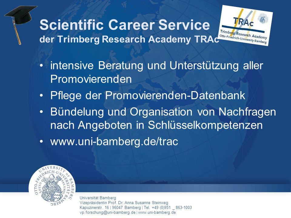 Scientific Career Service der Trimberg Research Academy TRAc