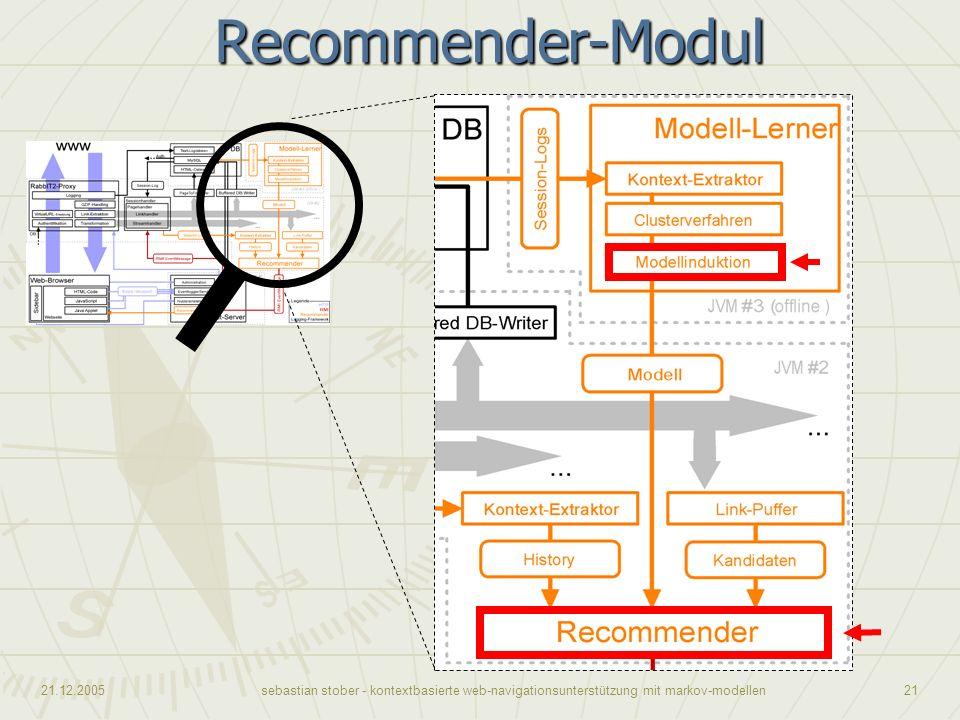 Recommender-Modul Kommen wir nun zum Recommender-Algorithmus.