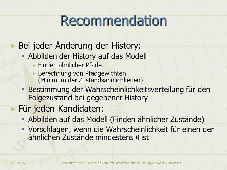 Recommendation Bei jeder Änderung der History: Für jeden Kandidaten: