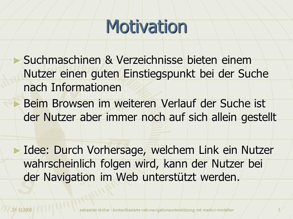 Motivation Suchmaschinen & Verzeichnisse bieten einem Nutzer einen guten Einstiegspunkt bei der Suche nach Informationen.