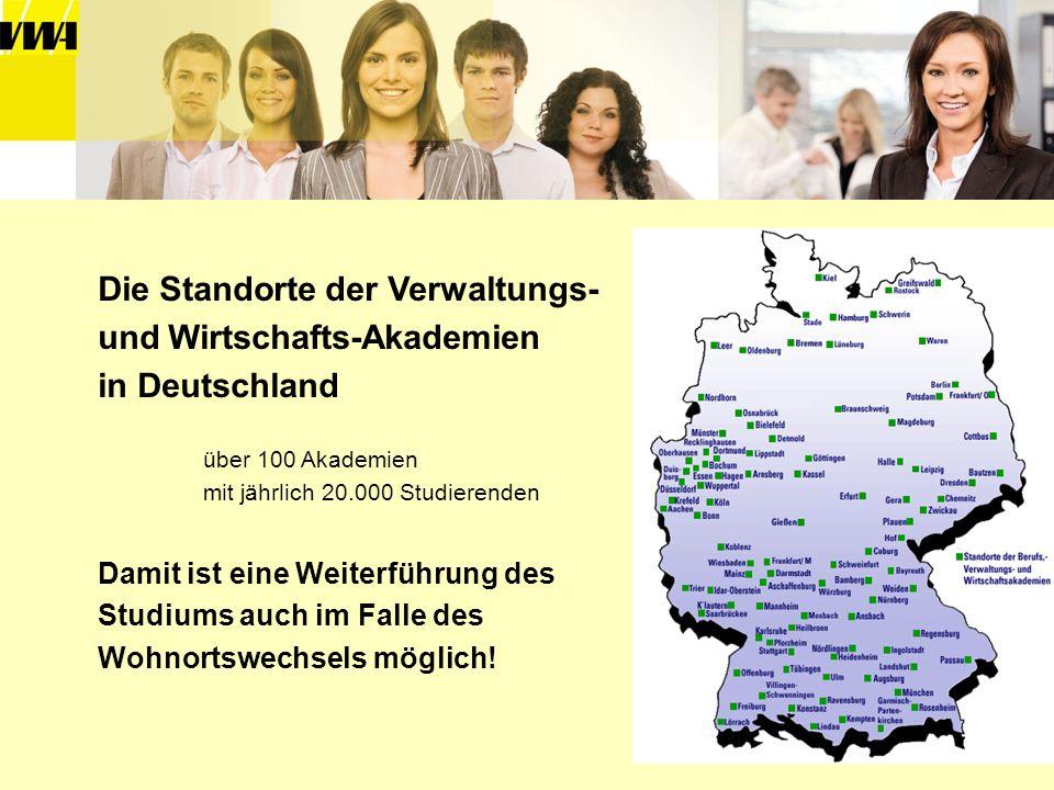 Die Standorte der Verwaltungs- und Wirtschafts-Akademien