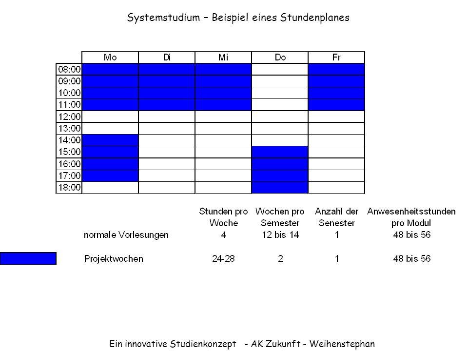 Systemstudium – Beispiel eines Stundenplanes
