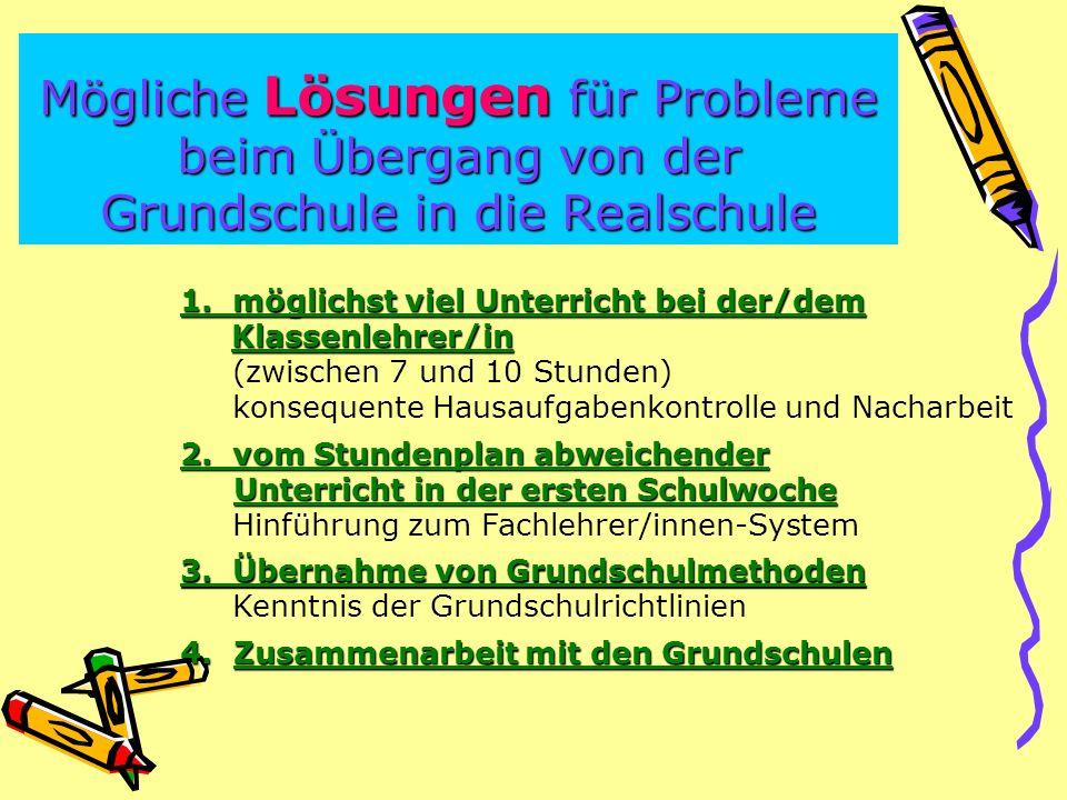Mögliche Lösungen für Probleme beim Übergang von der Grundschule in die Realschule