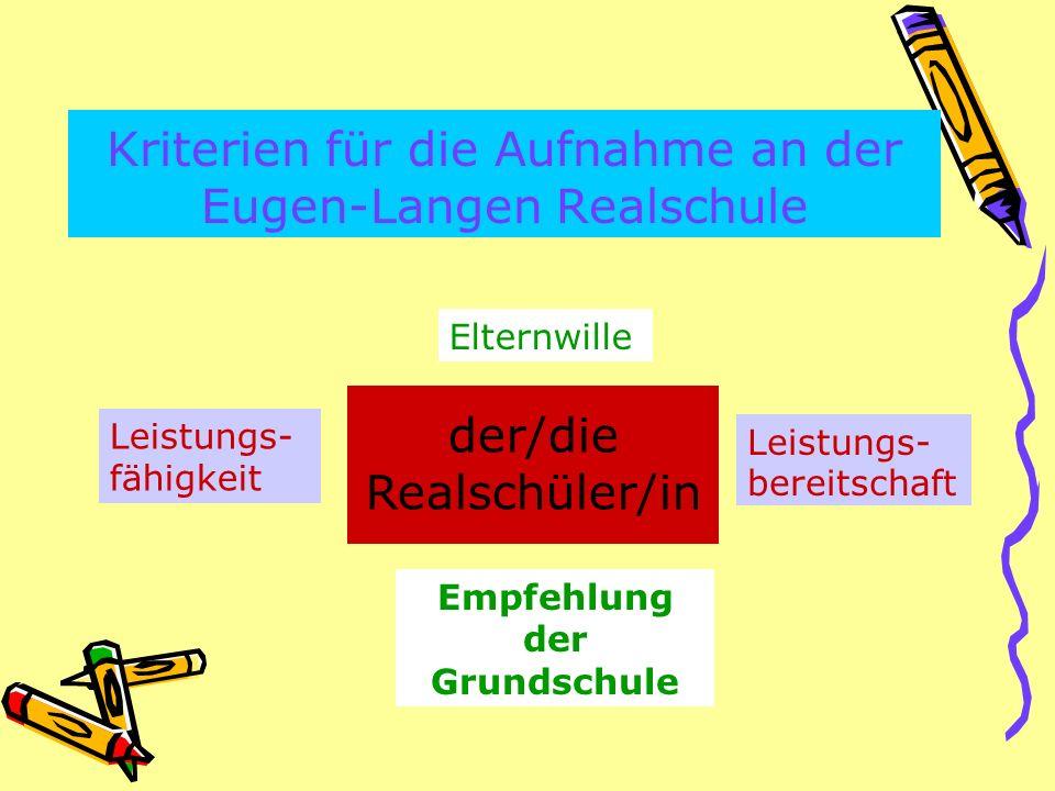 Kriterien für die Aufnahme an der Eugen-Langen Realschule