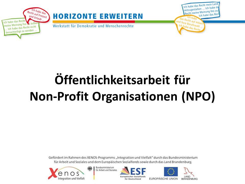 Öffentlichkeitsarbeit für Non-Profit Organisationen (NPO)