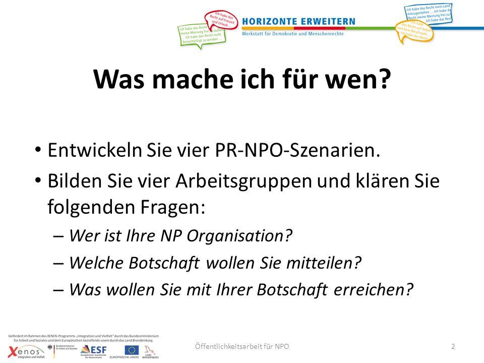Öffentlichkeitsarbeit für NPO