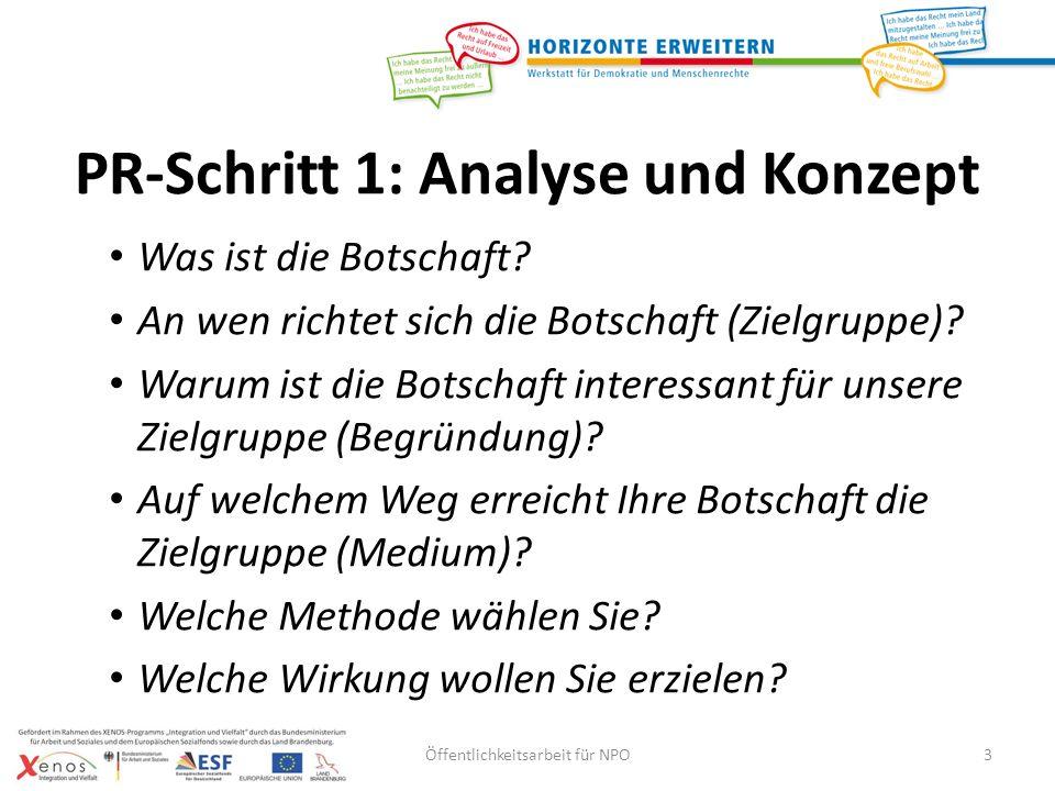 PR-Schritt 1: Analyse und Konzept