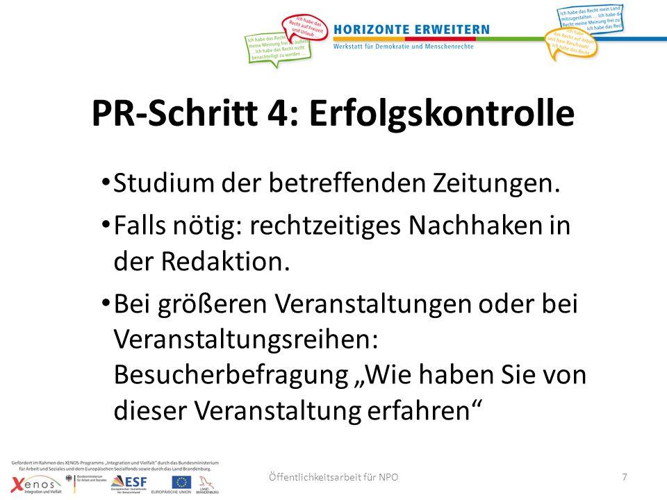 PR-Schritt 4: Erfolgskontrolle