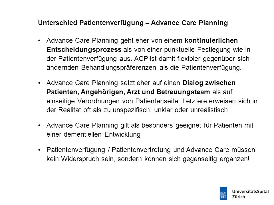 Unterschied Patientenverfügung – Advance Care Planning