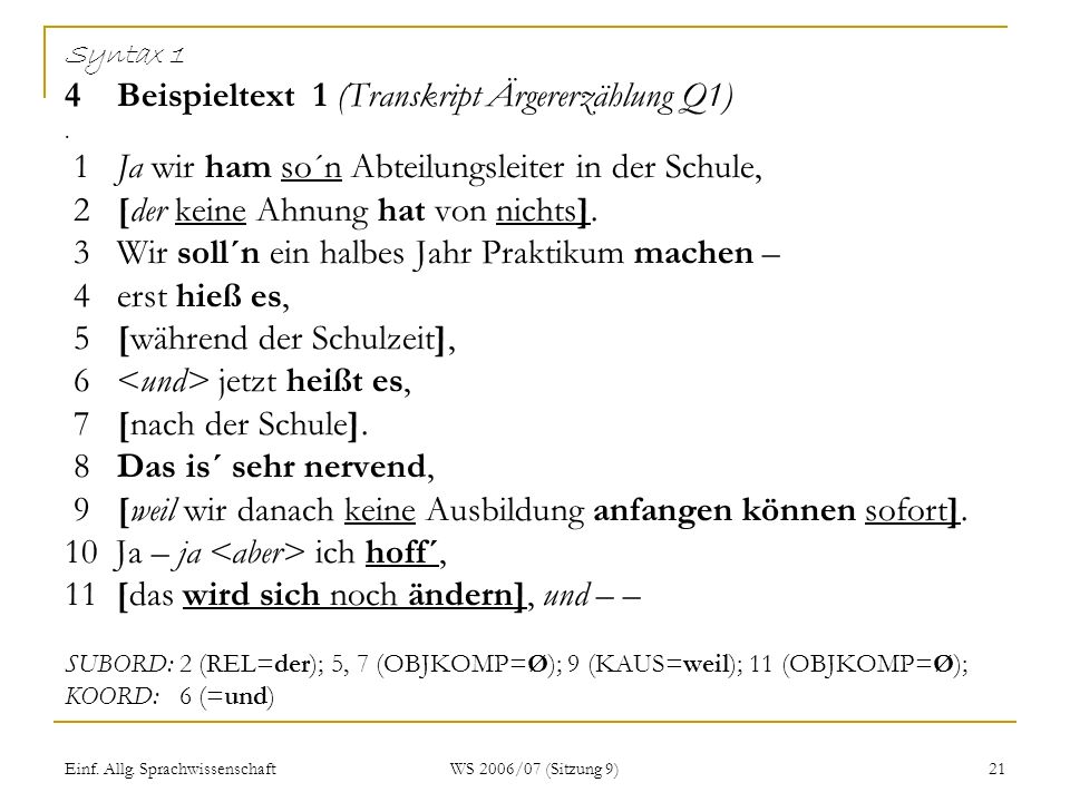 Syntax 1 4 Beispieltext 1 (Transkript Ärgererzählung Q1)