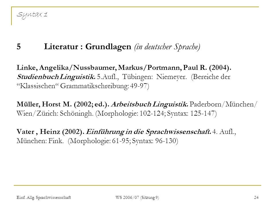 Syntax 1 5 Literatur : Grundlagen (in deutscher Sprache) Linke, Angelika/Nussbaumer, Markus/Portmann, Paul R. (2004). Studienbuch Linguistik. 5.Aufl., Tübingen: Niemeyer. (Bereiche der Klassischen Grammatikschreibung: 49-97) Müller, Horst M. (2002; ed.). Arbeitsbuch Linguistik. Paderborn/München/ Wien/Zürich: Schöningh. (Morphologie: 102-124; Syntax: 125-147) Vater , Heinz (2002). Einführung in die Sprachwissenschaft. 4. Aufl., München: Fink. (Morphologie: 61-95; Syntax: 96-130)