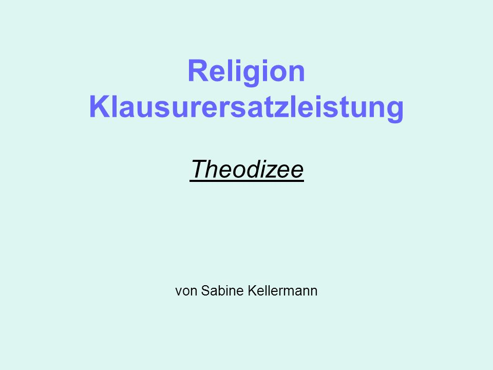 Religion Klausurersatzleistung