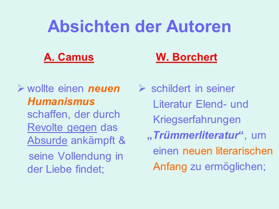 Absichten der Autoren A. Camus