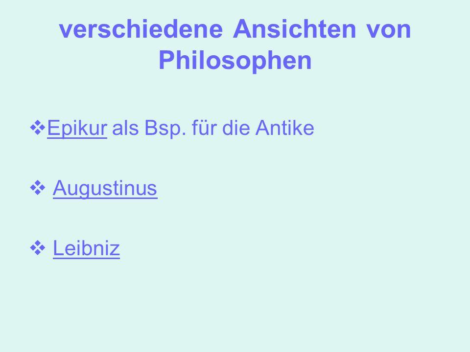 verschiedene Ansichten von Philosophen
