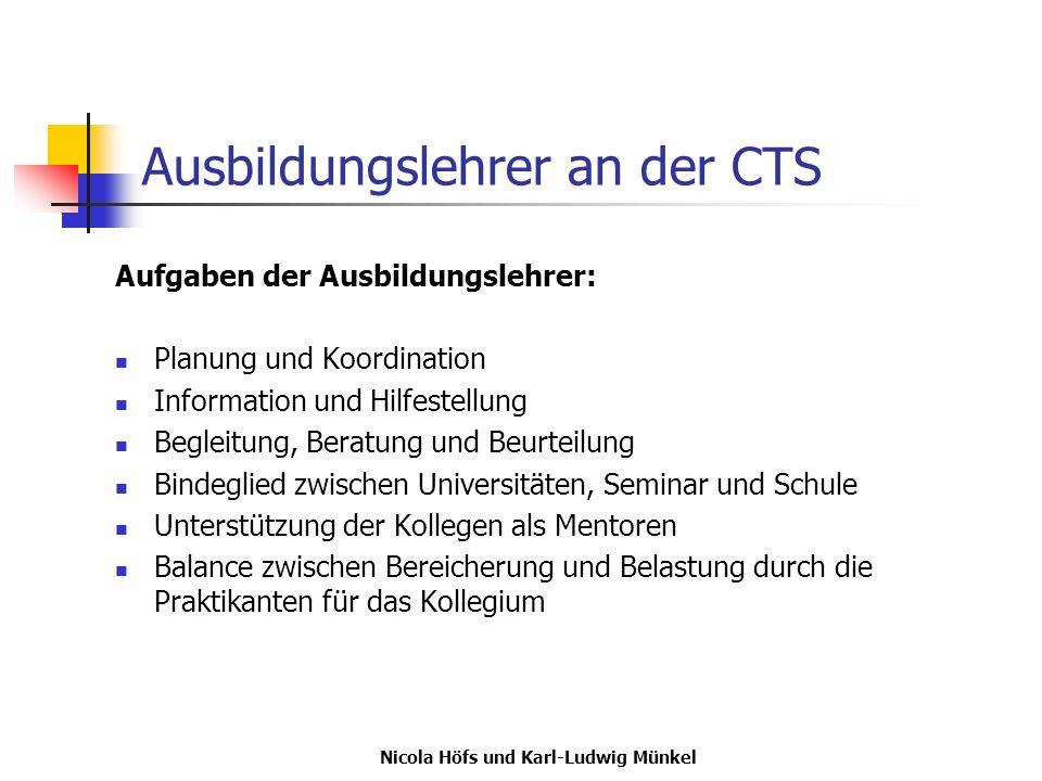 Ausbildungslehrer an der CTS